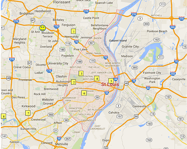 Map of Site Visits in St. Louis for Noyce Conference