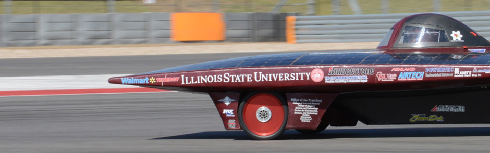 Illinois State Universities solar car driving on the track